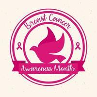 banner do mês mundial de conscientização do câncer de mama com pomba vetor