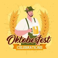 banner de celebração da oktoberfest com homem com cerveja