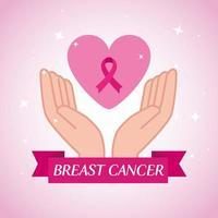 mãos com fita rosa, símbolo da conscientização mundial sobre o câncer de mama vetor