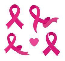 conjunto de fitas rosa, símbolo da conscientização mundial sobre o câncer de mama vetor