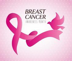 fita rosa, símbolo do mês mundial da conscientização do câncer de mama com pomba vetor