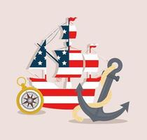 caravela da bandeira dos EUA com bússola e âncora para o feliz dia de Colombo vetor