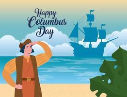 banner de celebração do feliz dia de colombo com Cristóvão Colombo vetor