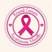 selo carimbo com fita rosa, símbolo do mês mundial de conscientização do câncer de mama vetor