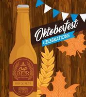 banner de celebração da oktoberfest com garrafa de cerveja artesanal vetor
