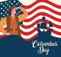banner de celebração do Feliz Dia de Colombo com Cristóvão Colombo e a bandeira dos EUA vetor