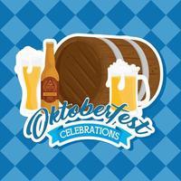 Banner de celebração da oktoberfest com barril de madeira e cervejas artesanais