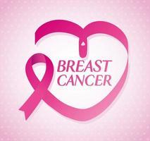 fita rosa em forma de coração, símbolo do mês mundial de conscientização do câncer de mama vetor