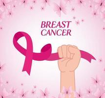 mão com fita rosa, símbolo do mês mundial da conscientização do câncer de mama com borboletas