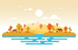 cena de outono com colinas, árvores e casas vetor
