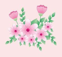 lindas flores rosa com ramos e folhas