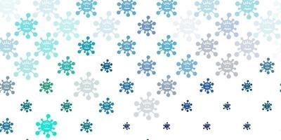 pano de fundo de vetor azul e verde claro com símbolos de vírus.
