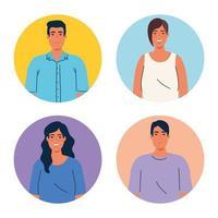 imagem pessoas ícones de avatar multiétnico vetor
