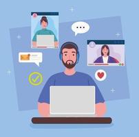 homem trabalhando em casa em uma videoconferência com um colega de trabalho