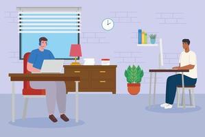 teletrabalho, homens trabalhando em casa