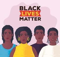 A vida negra importa banner com as pessoas juntas, pare o conceito de racismo vetor