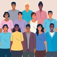 multidão de pessoas multiétnicas juntas, conceito de diversidade e multiculturalismo vetor
