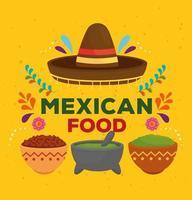 pôster de comida mexicana com decoração de chapéu sombrero vetor