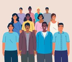 multidão de pessoas juntas, conceito de diversidade e multiculturalismo vetor