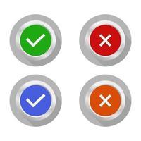 botão de verificação e erro definido em fundo branco vetor