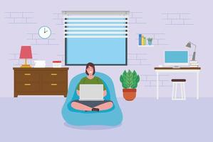 teletrabalho, mulher com um laptop trabalhando em casa