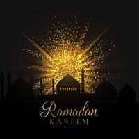 Fundo de Ramadã com glitter dourado vetor