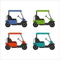 conjunto de carro de golfe em fundo branco vetor