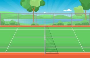 quadra de tênis ao ar livre cercada por árvores vetor