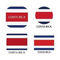 bandeira da costa rica colocada sobre fundo branco vetor