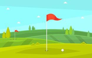 campo de golfe com bandeira vermelha, árvores e bola de golfe vetor