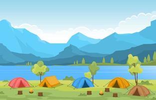 tendas de acampamento e fogueira perto do rio e das montanhas vetor