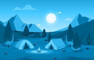 tendas de acampamento e fogueira em um vale na montanha à noite vetor