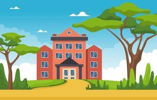 grande prédio escolar com árvores e céu vetor