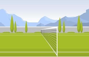 quadra de tênis ao ar livre cercada por árvores e montanhas vetor