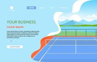 página de destino com quadra de tênis e montanhas vetor