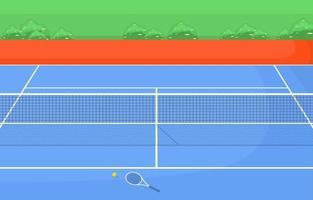quadra de tênis ao ar livre cercada por grama vetor
