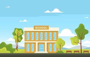 grande prédio escolar com árvores e bancos vetor