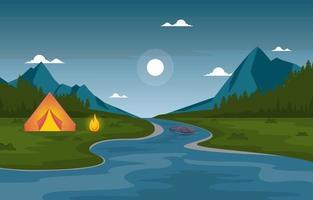 aventura de acampamento próximo a rios e montanhas vetor