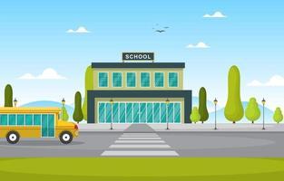 prédio escolar com ônibus escolar amarelo do lado de fora vetor