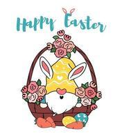 gnomo coelhinho fofo na cesta de flores de ovo, vetor de desenho animado feliz páscoa