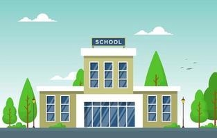 grande prédio escolar com árvores e lâmpadas vetor