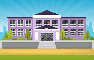 grande prédio escolar com árvores e bandeira vetor