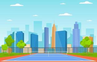 quadra de tênis ao ar livre com horizonte da cidade vetor