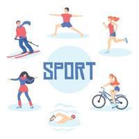 coleção de homens e mulheres realizando várias atividades esportivas vetor