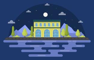 prédio escolar nas montanhas à noite vetor