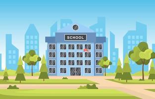 grande prédio escolar com árvores e linha do horizonte vetor