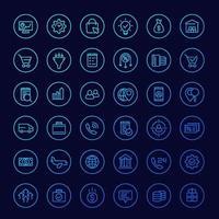 ícones de negócios e comércio eletrônico, linha vector.eps vetor
