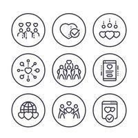 ícones de linha de vetor de caridade set.eps