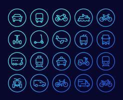 conjunto de ícones de linha de transporte, carros, van, bicicleta, motocicleta, ônibus, trem, avião, táxi, tuk tuk e quad bike.