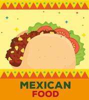 pôster de comida mexicana com delicioso taco vetor